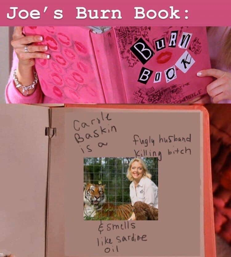 tiger king meme burn book