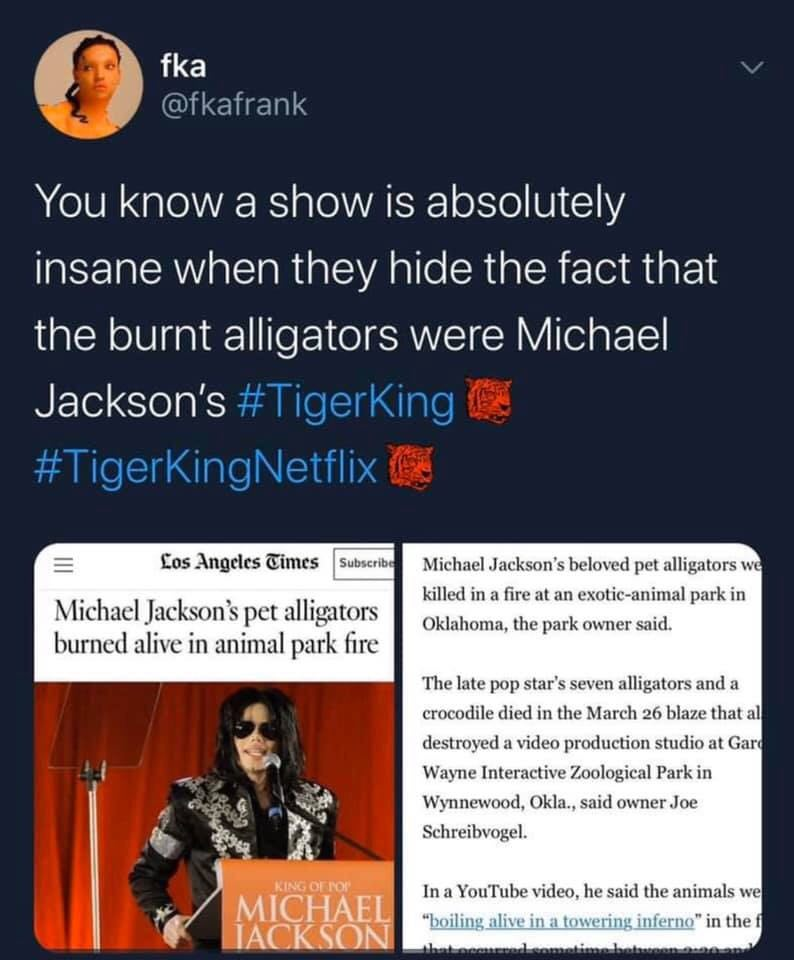 tiger king tweet meme michael jackson alligators