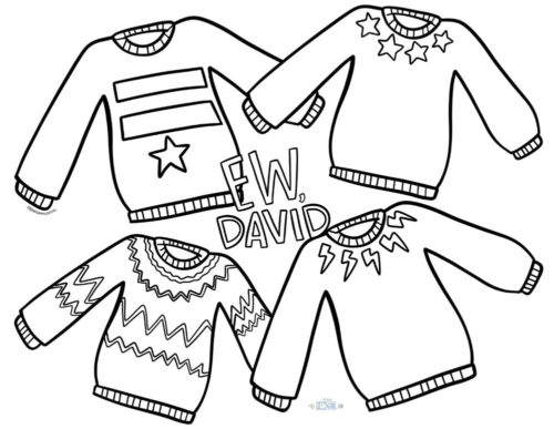 David's Sweaters Free printable Schitt's Creek coloring pages