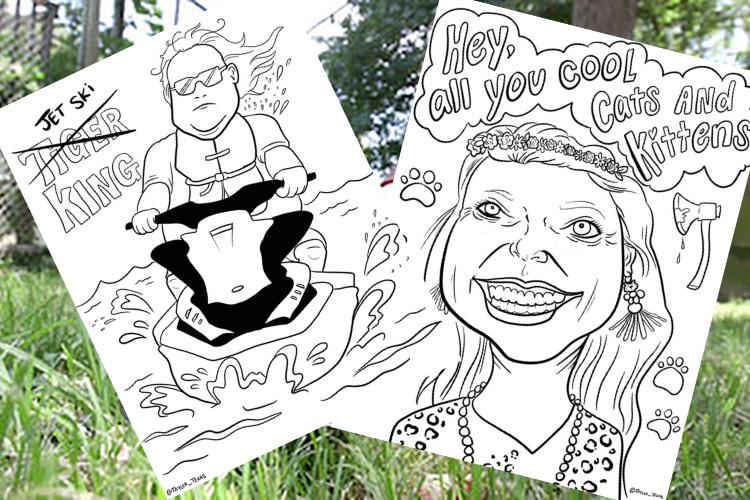 Carole Baskin tiger king coloring page Jet ski king coloring sheet