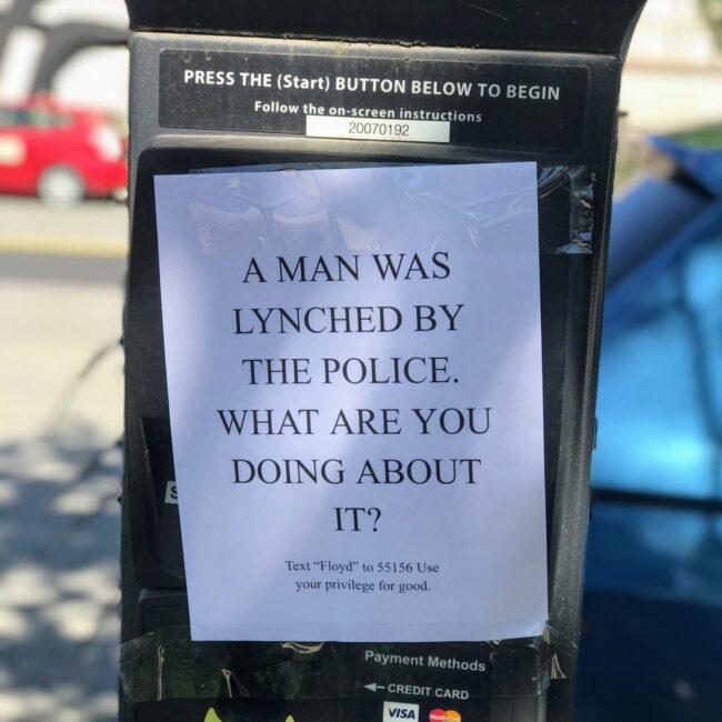george floyd parking meter washington dc sign