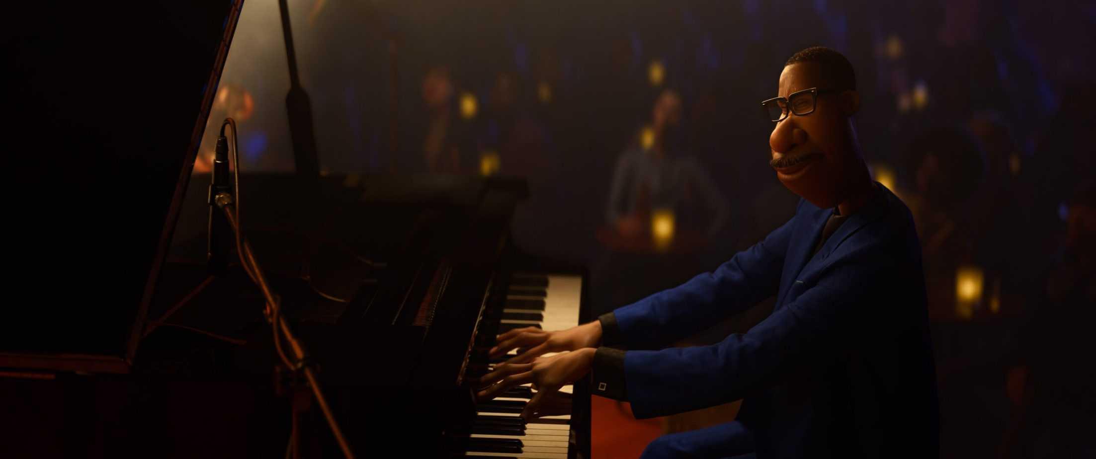 is soul safe for kids? joe gardner playing piano in Disney Pixar's Soul